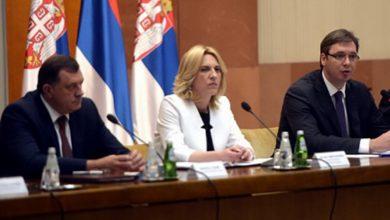 Milorad Dodik, Željka Cvijanović i Aleksandar Vučić